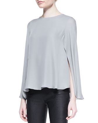Silk Double Georgette Cape Blouse, Gray