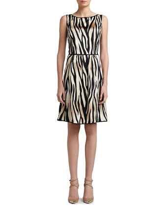 Tigre Print Stretch Silk Charmeuse Dress with Soft Gathered Skirt