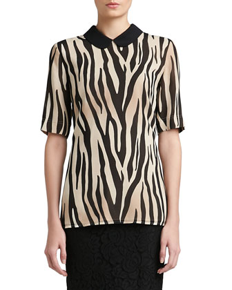 Tigre Print Silk Georgette Elbow Sleeve Blouse with Silk CDC Collar & ...