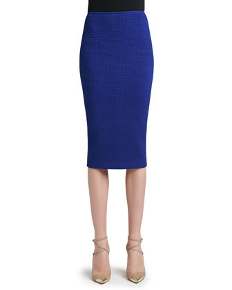 Box Stitch Knit Long Pencil Skirt with Back Slit