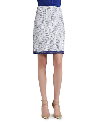 Degrade Honeycomb Knit A-Line Mod Skirt with Contrast Knit Trim Hem