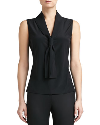 Stretch Silk Crepe de Chine Shell with Fixed Tie