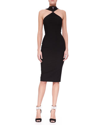 Oscar Leather-Halter Jersey & Chiffon Sheath Dress