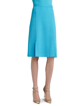 Milano Pique Knit A-line Skirt with Front Slits