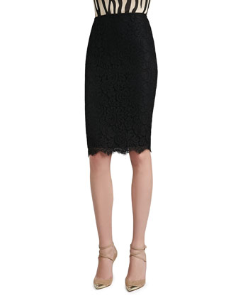 Graphic Lace Pencil Skirt with Scalloped Hem and Back Slit