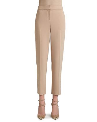 Crepe Marocain Cropped Emma Pants with Pockets