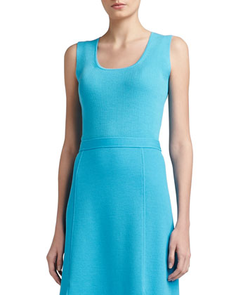 Rib Knit Fine Gauge Scoop Neck Sleeveless Shell