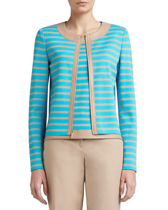 Striped Milano Knit Jewel Neck Jacket with Soft Napa Leather Trim
