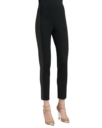 Stretch Milano Knit Slim Ankle Pant With Luxe Stretch Leather Side Panels ...