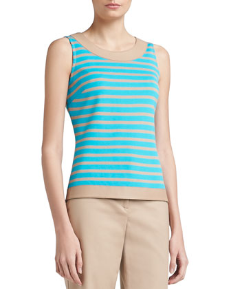 Striped Milano Knit Shell with Soft Napa Leather Trim