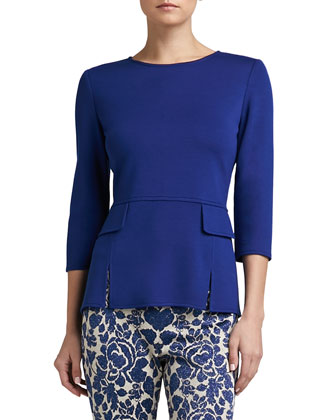 Milano Knit Vented Peplum Top with 3/4 Sleeve and Pocket Flaps