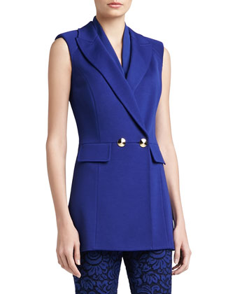 Milano Knit Double-Breasted Sleeveless Jacket with Padded Shoulder & Pocket ...