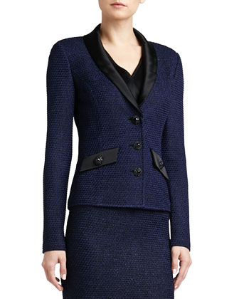 Shimmer Punto Riso Knit Jacket with Liquid Satin Shawl Collar and Pocket ...