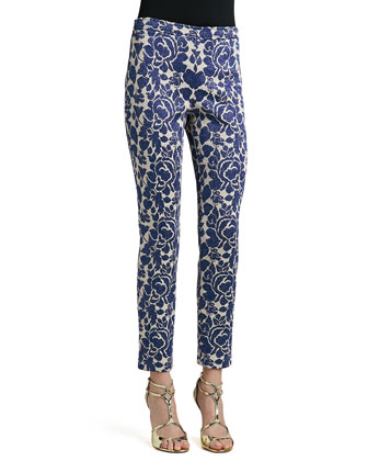 Metallic Rose Floral Jacquard Knit Slim Ankle Pants with Back Slits
