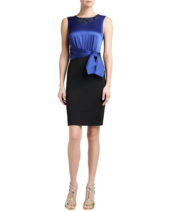 Sateen Milano Knit Dress with Sequined Liquid Satin Bodice and Sash Bow ...