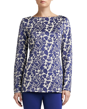 Metallic Floral Jacquard Knit Bateau-Neck Tunic with Side Slits