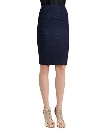 Shimmer Punto Riso Knit Pencil Skirt