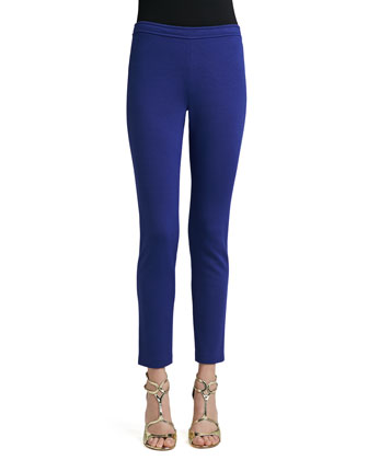 Stretch Milano Knit Alexa Pants with Back Slit Detail