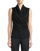Graphic Lace Sleeveless Wrap Shell