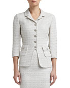 Frosted Shimmer Knit 3/4 Sleeve Tailored Jacket with Pockets