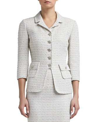 Frosted Shimmer Knit 3/4 Sleeve Tailored Jacket & Pencil Skirt
