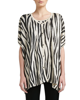 Tigre-Print Light Shimmer Knit Trapeze Cardigan, Cap-Sleeve Shell & Liquid ...