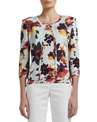 Modern Floral Printed Welt Knit 3/4 Sleeve Cardigan
