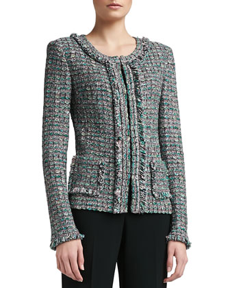 Donegal Plaid Tweed Knit Jacket with Patch Pockets and Fringe