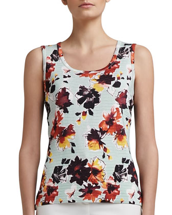 Modern Floral-Printed Welt Knit Scoop-Neck Shell