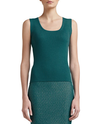 Rib Knit Fine-Gauge Scoop-Neck Sleeveless Shell