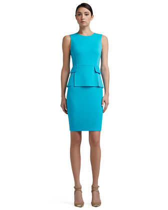Milano Knit Vented Peplum Bodice Dress With Nouveau Boucle Skirt and Pocket ...