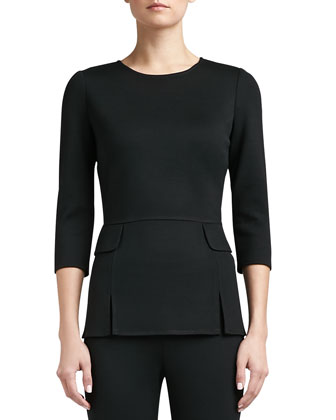 Milano Knit Vented Peplum Top with 3/4 Length Sleeves and Pocket Flap ...