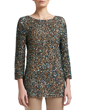 Hand Beaded Textural Micro Sequin 3/4 Length Sleeve Tunic