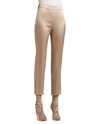 Liquid Satin Side Zip Cropped Emma Pants, New Camel
