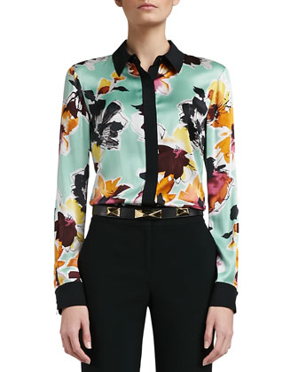 Floral Print Stretch Silk Charmeuse Blouse with Contrast Stretch Silk CDC ...
