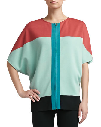 Milano Knit Colorblock Batwing Full Cardigan