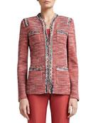 Heathered Shantung Tweed Knit Mandarin Collar Jacket with Pockets