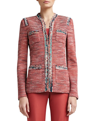 Heathered Shantung Tweed Knit Mandarin Collar Jacket with Pockets & Stretch ...