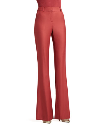 Stretch Shimmer Twill Narrow Bootleg Pants