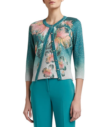 Iris Print Shimmer Boucle Knit 3/4 Sleeve Cardigan, Scoop Neck Shell & ...