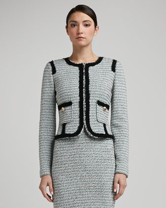 Sorbet Tweed Knit Jacket With Shredded Fringe Trim and Pockets