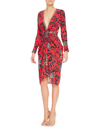 Plunging Maui Floral Dress with Long Sleeves & Silvertone Gladiator Stretch ...