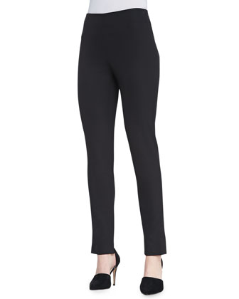 Catherine Slim Straight-Leg Pants, Black