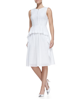 Tiered Zip-Front Cotton Peplum Dress