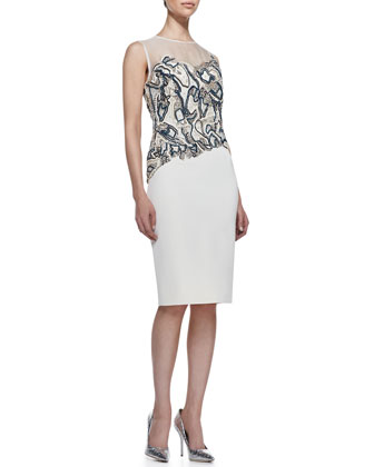 Sleeveless Beaded Sheath Dress, White/Multi