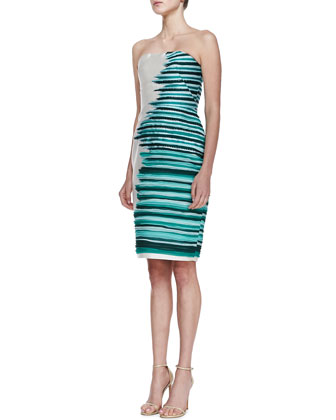Silk-Embroidered Strapless Cocktail Dress, Jade/Multi