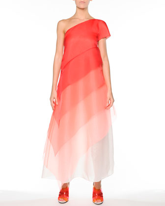 Ombre Tiered Silk One-Shoulder Gown, Red/Multi