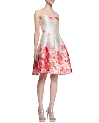Seamed Floral Strapless Dress, Peony