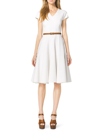 Cap-Sleeve Linen Dress