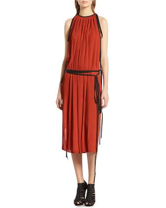 Dark Orange Silk Pleated Dress